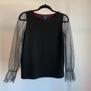 French Connection Mesh Sleeved Blouse